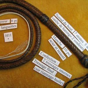 Fouet de cuir H11 brun et kaki-0